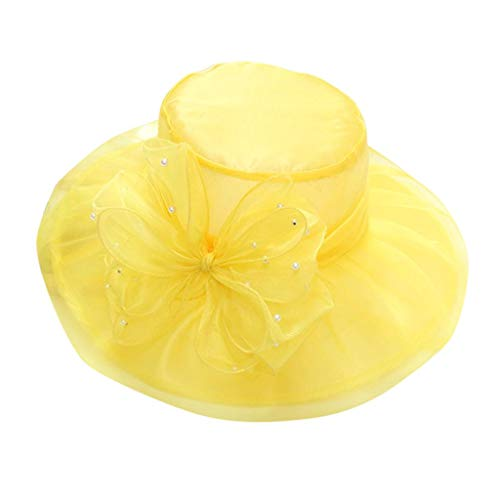 (Women Bowknot Kentucky Derby Wide Brim Wedding Church Occasional Organza Sun Hat (Yellow))