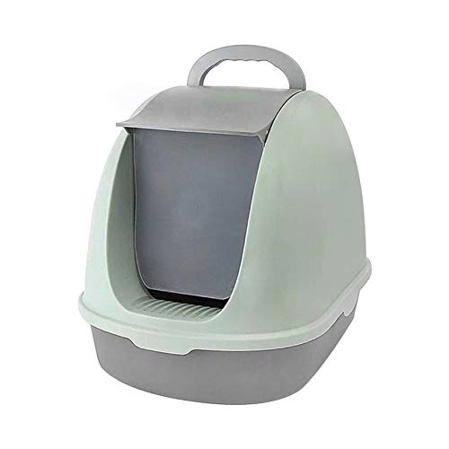 XIAOAN Cat Toilet Pet Toilet Supplies Cat Supplies Green Plastic Front Clamshell Casserole Full Closure Deodorant and No Smell