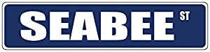 "Novelty Metal Signs Seabee Blue 3"" x 18"" Aluminum METAL Novelty Street Sign from bobbit"