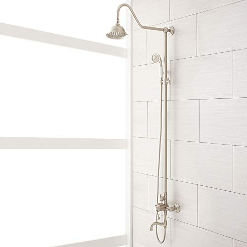 Signature Hardware 429526 Dolwick Exposed Shower System with Rain Shower Head, Hand Shower, and Hose - Rough In Included