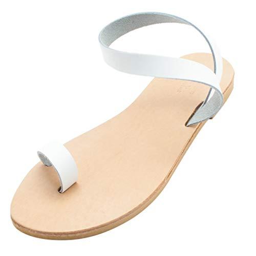 Women's Breathable Ankle Strap Sandal, MmNote Classic Hawaii Soft Flexible Roman Style Sandal White