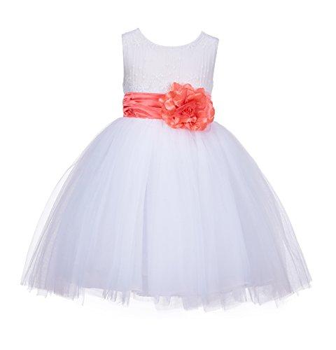 Price comparison product image Ekidsbidal White Lace Embroidery Tulle Flower Girl Dress Wedding Dress 118 2