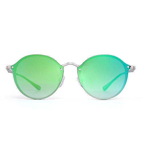 Redondo Verde Plateado Espejo Hombre Plano Pequeño Mujer Espejo Lente Retro Circulo Marco Gafas Sin Sol de de qZ6a6wI