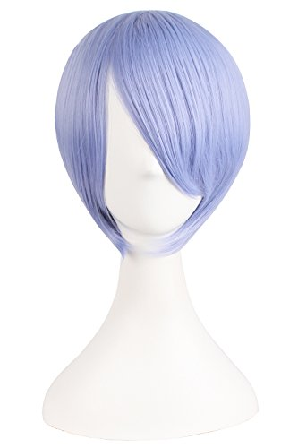 [MapofBeauty Short Straight Cosplay Costume Wig Party Wig (Light Purple)] (Purple Wig Costumes)
