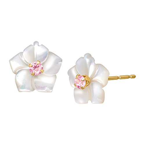 Mother-of-Pearl Flower Stud Earrings with Pink Cubic Zirconia in 14K Gold -