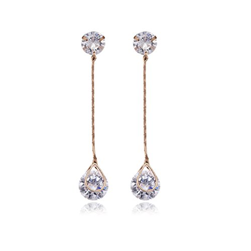 Crystal Long Drop Earrings - Women's Rose Gold Plated Sterling Silver Round Cubic Zirconia CZ Diamond Rhinestone Long Chain Dangle Earrings Bridal Linear Drop Earrings for Wedding Bride Bridesmaids