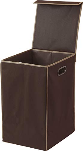 Simple Houseware Foldable Laundry Hamper Basket with Lid, Brown (Laundry Brown Hamper)