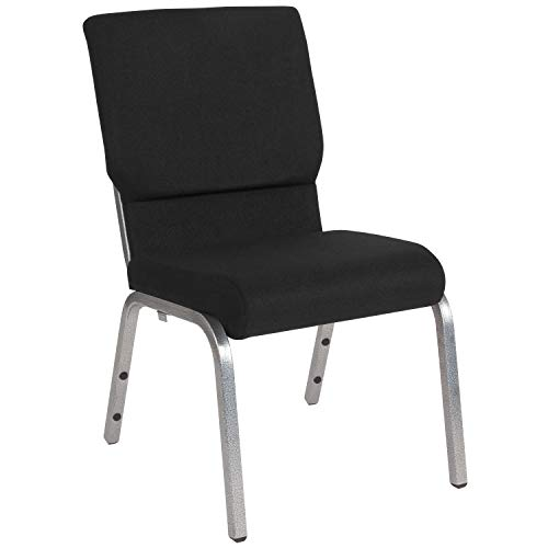 "18.5""W Stacking Church Chair in Black Fabric – Silver Vein Frame"