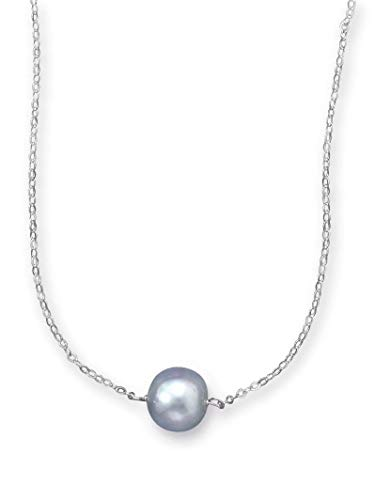Silver 11mm Dyed Cultured Freshwater Single Pearl Necklace Sterling Silver Adjustable Length