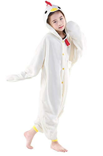 Olasante Unisex Child Kid White Chicken Cosplay Costume Pajamas Masquerade Costume Jumpsuit Outfit,8-115 -