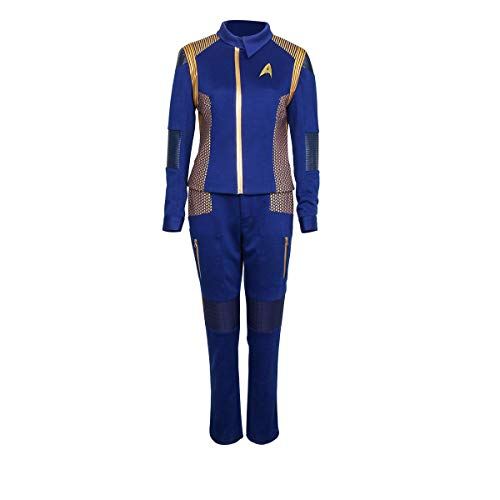 Partyever Trek Discovery Commander Uniform 2017 New Starfleet USS Discovery Captain Lorca Cosplay Costume Halloween Outfit (Medium, Women) -