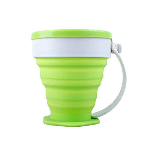 Silicone Outdoor Collapsible Mug Folding Travel Camping Cup (200ml, Green)