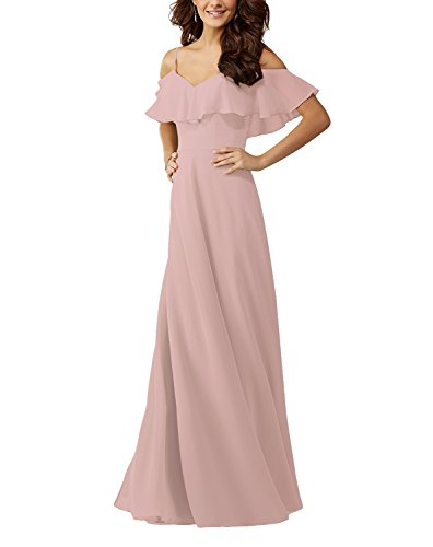 Lafee Bridal Off Shoulder Ruffle Chiffon Long Prom Evening Gown Bridesmaid Dress Blush Size 8