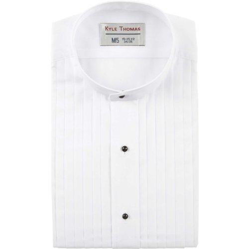 """UPC 786471896433, Kyle Thomas Men's 1/2"""" Pleat Banded Collar Tuxedo Shirt 35/XL White"""