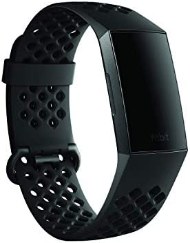 Fitbit Charge 3 Accessory Band, Official Fitbit Product, Sport, Black, Small