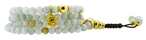 Rose Quartz Rosary Bracelet (Simulated Green Quartz Yoga Meditation 108 Prayer Beads Mala Wrap Bracelet or Necklace (Rose Flower))