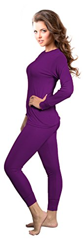 Rocky Womens Thermal 2 Pc Long John Underwear Set Top and Bottom Smooth Knit (Xlarge, Purple)