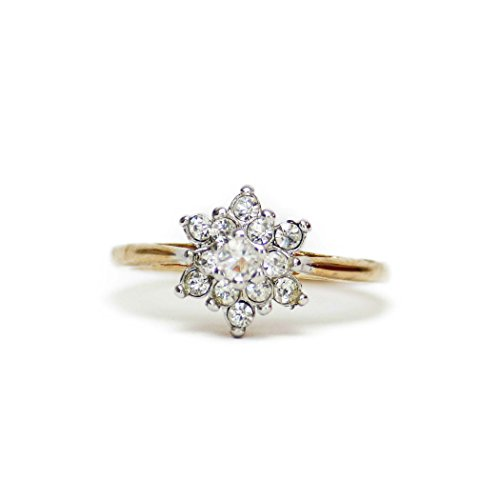 9e9633753 Providence Vintage Jewelry Clear Swarovski Crystal Flower Motif Ring 18k  Yellow Gold Electroplated
