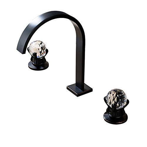 Rozin Deck Mounted 3 Holes Bathroom Basin Faucet 2 Crystal Knobs Widespread Sink Mixer Tap Oil Rubbed Bronze -