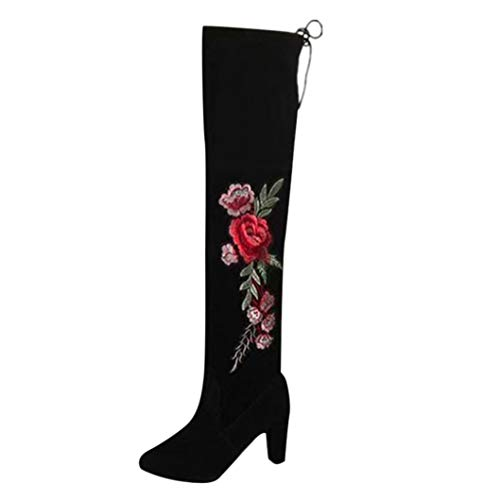 DAYSEVENTH Ladies Rose Embroider Thigh High Boots Knee High Boot Flock High...