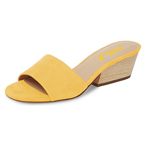 Toe Yellow Women FSJ Chunky Block Strap Size Heels Open Mules 4 Fashion 15 Mid Sandals US Single Shoes ppRqxAwg