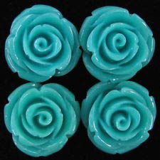 8 20mm Synthetic Coral Carved Rose Flower Pendant Bead Blue (Rose Coral Flower Carved)