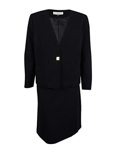 Tahari Women's Plus-Size Turn-Lock Ponte Skirt Suit (20W, Black) by Tahari