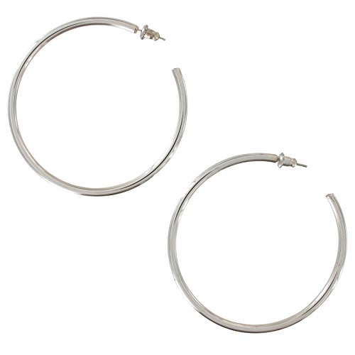 - Thin Plain Silver Tone Hoop Pierced Earrings 2 3/16