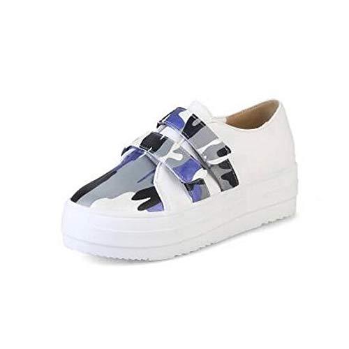 Negro Poliuretano tacón Verano Zapatos Azul con PU Mujer Plano Zapatillas Amarillo de Punta Primavera de Deporte Blue ZHZNVX Cerrada wZIqP1xBP