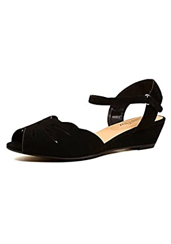 City Classified WILSON-H Women's Peep Toe Laser Cut PU Ankle Strap Mini Wedge Sandals (7.5, Black) - Retro Peep Toe
