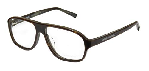 Trussardi 12728 For Men Aviator Full-Rim Shape Old School Mob Mafia Boss Hip Eyeglasses/Glasses (55-14-140, Havana)