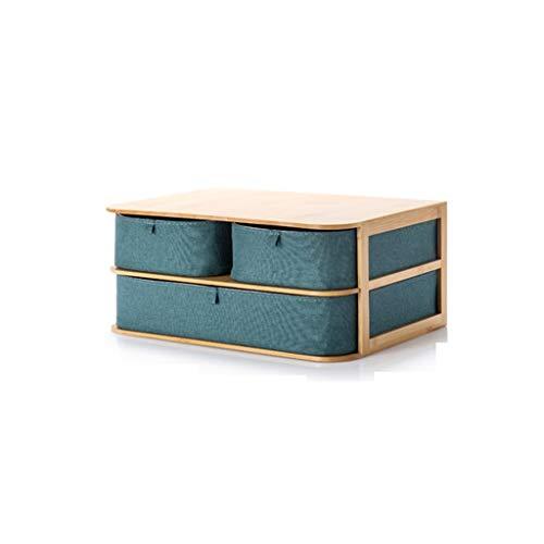 Cosmetic Storage Box Desktop Storage Basket, Dustproof Shelf, Drawer Design, Green SMMBM