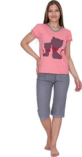 Kartex Women's Pajama Sets Capri Pants with Short Tops Cotton Sleepwear (Cat Dots, X-Large)