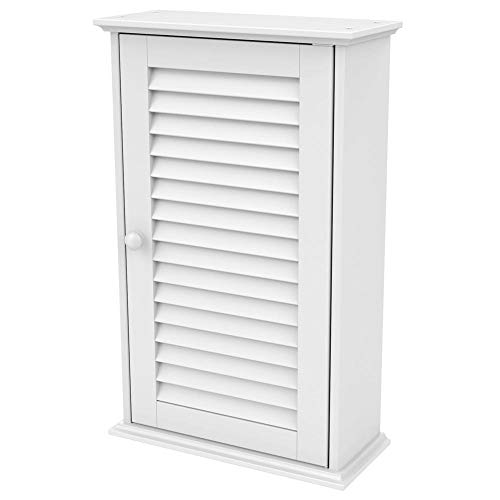 Vanity Bathroom Hanging (Topeakmart Bathroom/Kitchen Wall Mounted Single Louvered Door 3 Tier Adjustable Storage Shelf Medicine Cabinet/Cupboard)