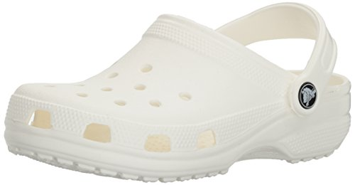 (Crocs Men's and Women's Classic Clog, Comfort Slip On Casual Water Shoe, Lightweight, White, 10 US Women / 8 US Men)