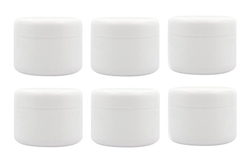 Ericotry White Plastic Jar with Dome Lid 8 Oz 250g Refillable Make-up Cosmetic Jars Empty Face Cream Lip Balm Lotion Storage Container Pot Case Pack of 6