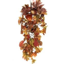 Autumn Harvest Artificial Leaves and Acorns Hanging Decorative Door Teardrop Swag by Factory Direct Craft