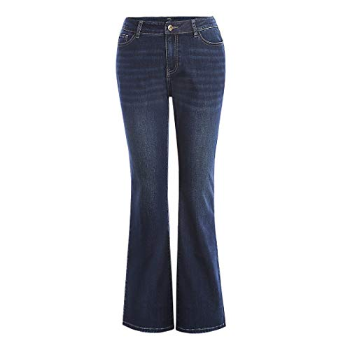 - MSSHE Women's Plus Size Denim Stretchy High-Rise Wide Leg Flare Bell Bottom Jeans Pants 16W