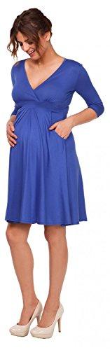 Happy Mama. Para Mujer Vestido acampanado plisado skater premamá bolsillos. 783p (Azul Real, EU 46, 4XL)