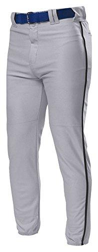 (A4 Adult Pro Style Elastic Bottom Baseball Pant, Grey/Blk, Large)