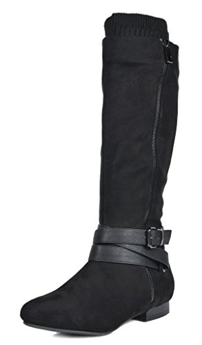 High Heel Slouch Boots (DREAM PAIRS Women's Beltran Black Flat Slouch Knee High Boots Size 7 M US)