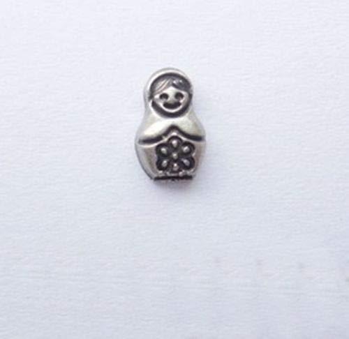 - Pendant Jewelry Making Russian Babushka Matryoska Doll Antiqued Silver Floating Charm for Memory Locket