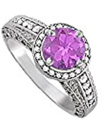 February Birthstone Amethyst and CZ Ring 1.75 TGW
