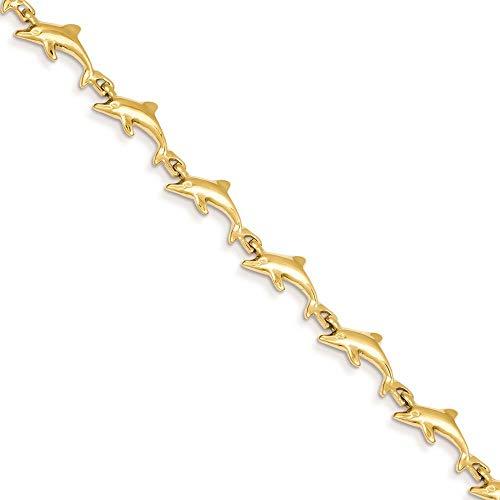14K Yellow Gold 7 MM Dolphin Bracelet, 7