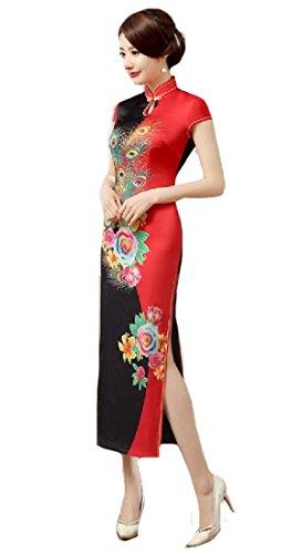 Split Women Folk Black Premium Cheongsam Dress Business Coolred red Maxi Style Qipao CIqd77w