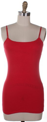 Active Basic Long Camisole with Built in Self Bra Adjustable Straps,Medium,Red
