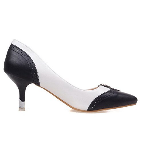 Balamasa Ragazze In Metallo Ornamento Pull-on Scolpito Fiore Imitato In Pelle Pompe-scarpe Nere