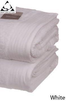 Percal de algodón egipcio de toalla de grosor Extra suave que absorbe 700gsm o cama de matrimonio de gran calidad par de Miami de baño hojas, blanco: Amazon.es: Hogar