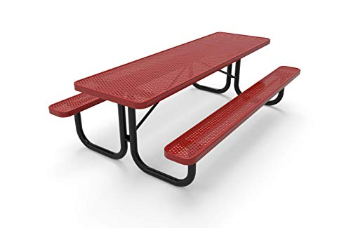 CoatedOutdoorFurniture T8-P-RED Heavy Duty Rectangular Portable Picnic Table, 8 Feet, Red, Made in America