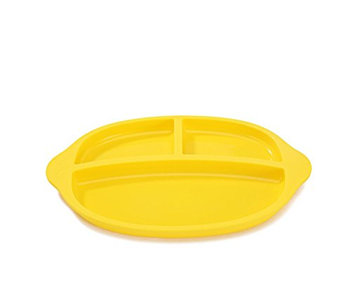 LLZJ Babies Silicone Suction Bowl Suction Stay Put Placemat Antidérapant Anti-Fall Toddler Training Feeding Dishes Tableware Children's Cutlery Silicone,Yellow